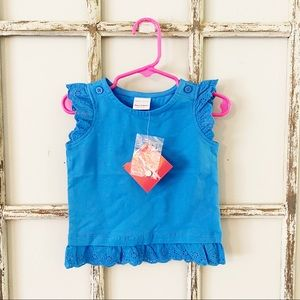 NWT Hanna Andersson 75 Blue Lace Detail Ruffle Top